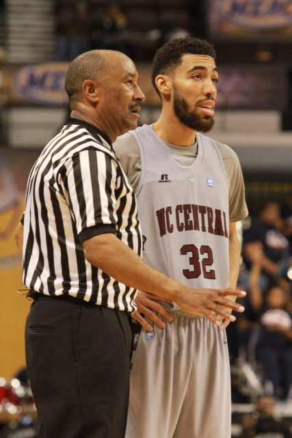 North Carolina Central player talks to the refere...