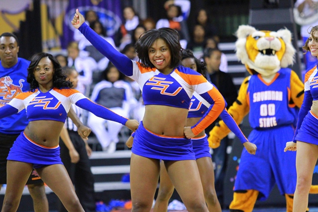 Savannah State University cheerleaders looking go...