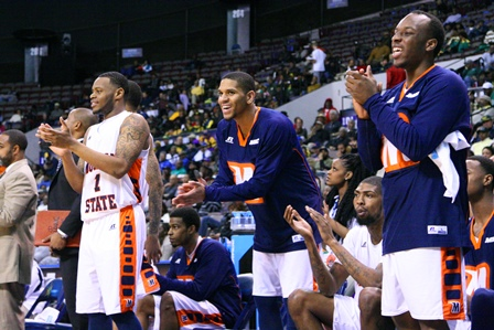 Morgan State players celebrate victory over Flori...