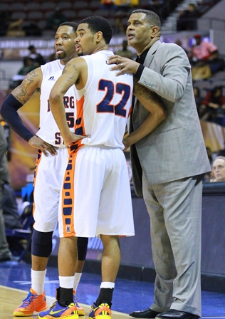 Morgan State head basketball coach talks to his p...