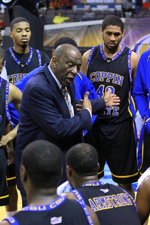 "Coppin State head basketball coach Ron""Fang&..."