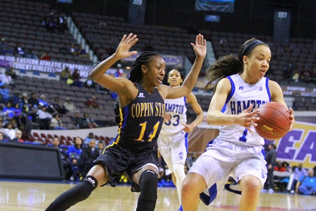 Hampton Lady Pirates keep the ball from Coppin St...