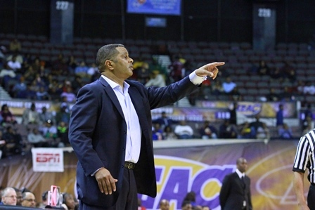 Morgan State head basketball coach directs his te...
