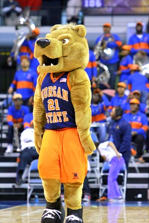 Morgan State mascot at the MEAC Championship game