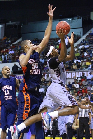 North Carolina Central drives to the basket again...