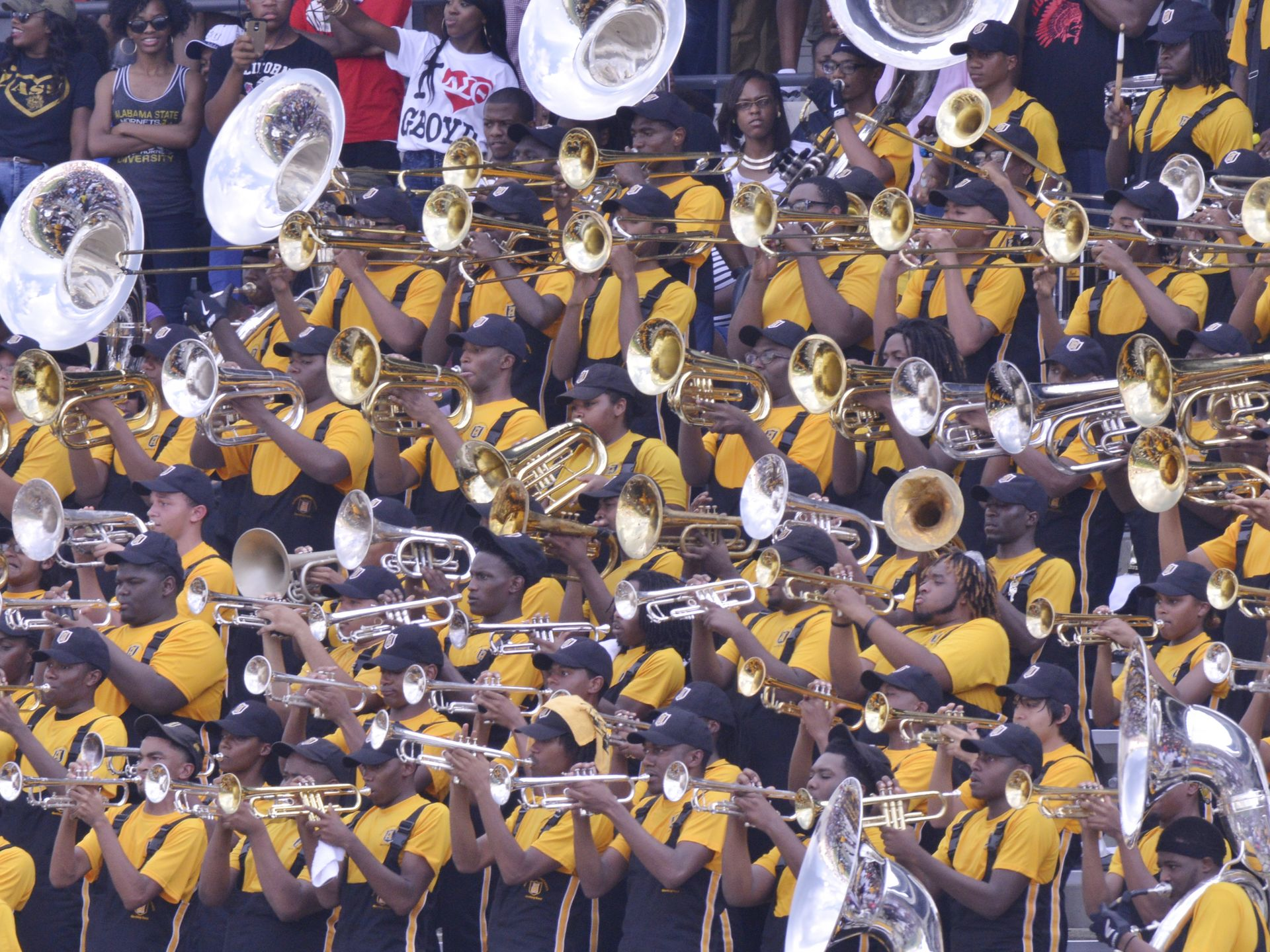 Alabama State marching band plays during their ga...