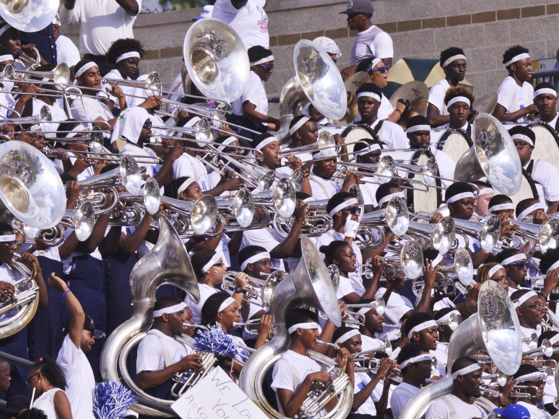 Tennessee State marching band plays during the ga...