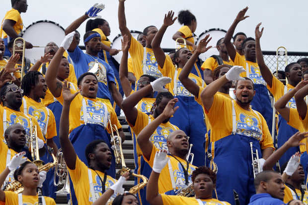 Albany State University marching band at the Whit...