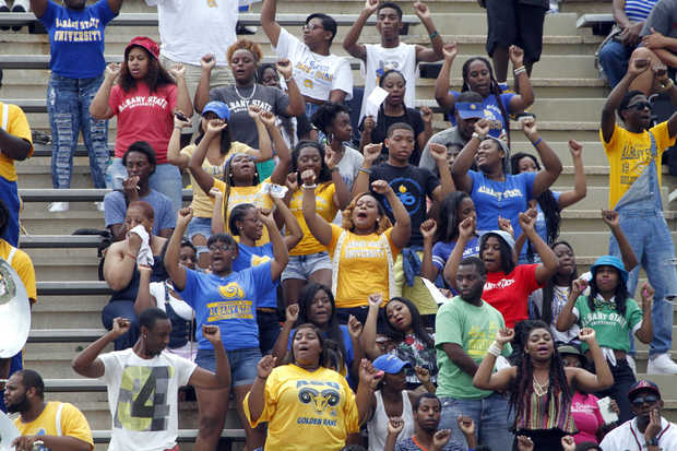 Albany State Golden Ram fans at the Whitewater Cl...