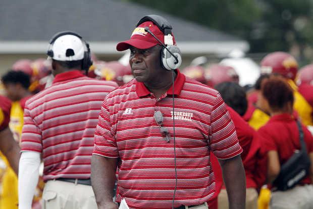 Tuskegee University Golden Tiger head coach looks...