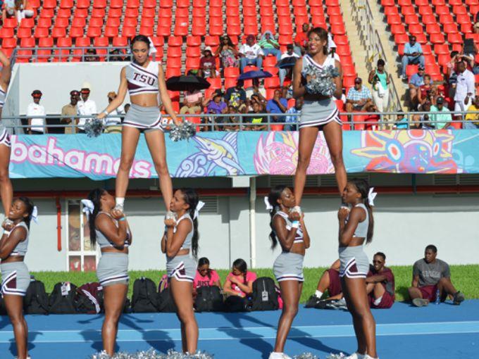 Texas Southern University cheerleaders in the Nas...