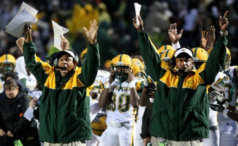 Norfolk State sideline celebrates after touchdown...