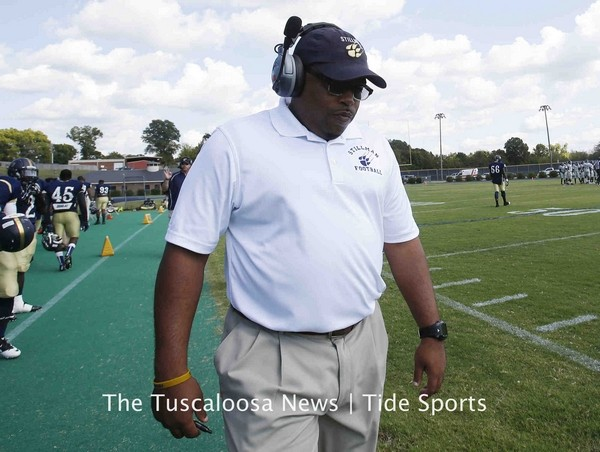 Stillman head coach Teddy Keaton walks the sideli...