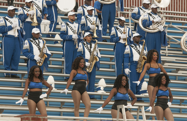 Fayetteville State marching band plays in the sta...