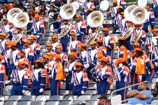 Morgan State marching band performs in the stands