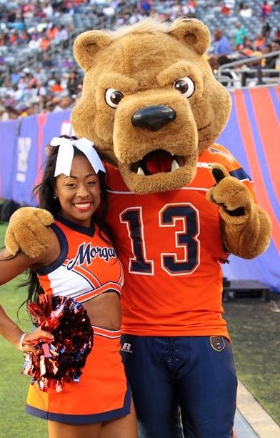 Morgan State Bears mascot and cheerleader at the ...
