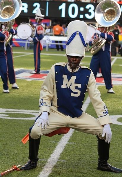 Morgan State drum major performs during halftime