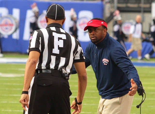 Howard Bison head coach talks to the referee abou...