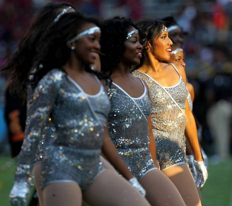 Grambling State dancers perform during halftime a...