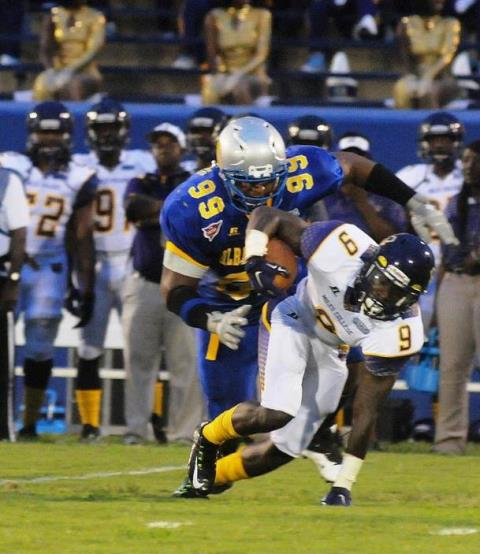 Albany State Golden Rams' defense shuts down...