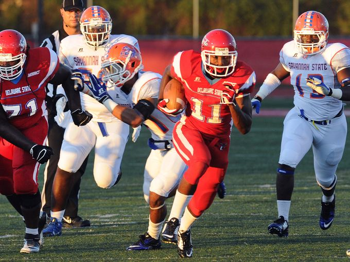 Delaware State Hornets earn first win by crushing...