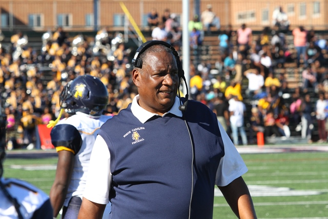 North Carolina A&T coach Rod on the sideline taki...