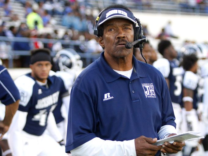 Jackson State coach Harold Jackson looks on as th...