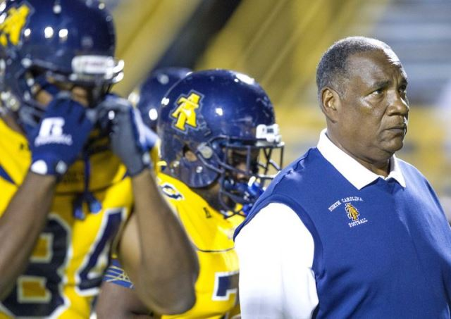 North Carolina A&T coach Rod Broadway looks on as...