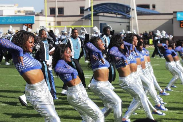 Jackson State J-Setts and marching band perform a...