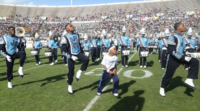 Jackson State Sonic Boom marching band performs a...