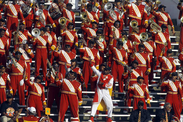 Tuskegee marching band jamming in the stands