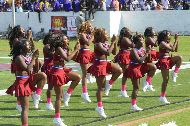 "South Carolina State cheerleaders ""Let'..."