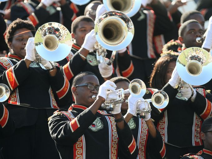 Grambling State Tiger marching band plays in the ...
