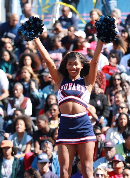 Howard Bison cheerleader at homecoming