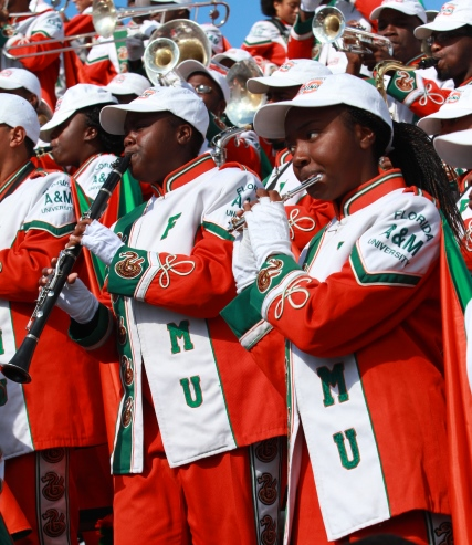 Florida A&M marching 100 performs in the stands