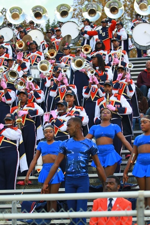 Virginia State marching band performs in the stan...