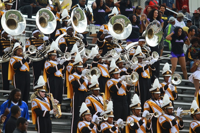 Bowie State marching band plays in the stands