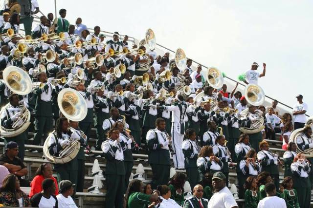 Mississippi Valley State marching band performs i...