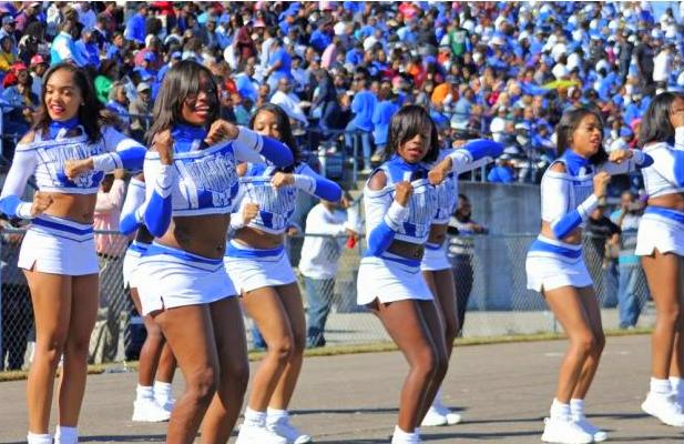 Elizabeth City State D'Lyte cheerleaders at ...