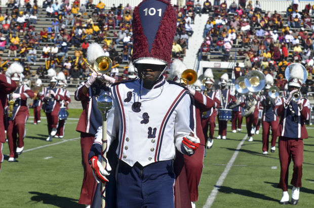 South Carolina State drum major leads the band on...