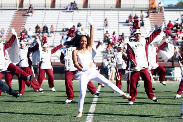 North Carolina Central dancers and band perform a...