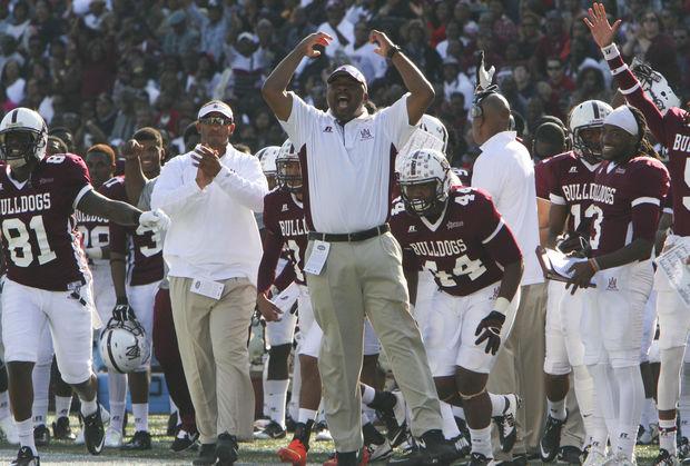 Alabama A&M Head Coach James Spady reacts to a to...