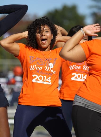Virginia State Woo Woo Alumni cheerleaders at hom...