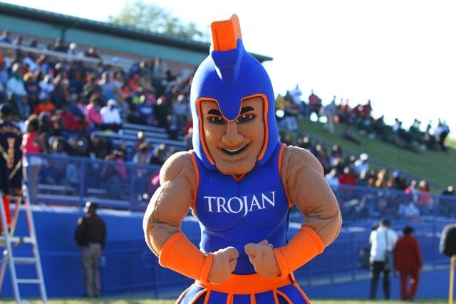 Virginia State Trojan mascot at homecoming