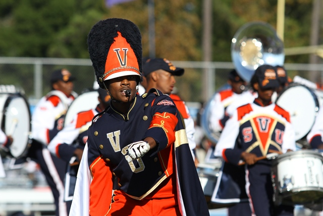 Virginia State marching band performs at halftime