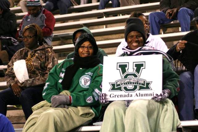 Mississippi Valley State fans supporting the Delt...