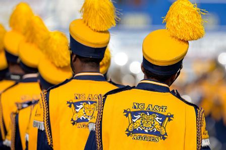 North Carolina A&T Blue and Gold marching getting...