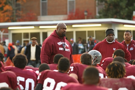 Virginia Union Panthers coach talks to team after...