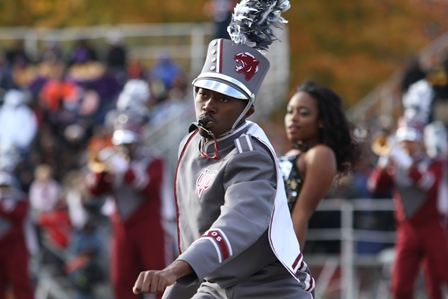 Virginia Union drum major getting down at halftim...