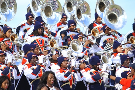 Virginia State marching plays in the stands